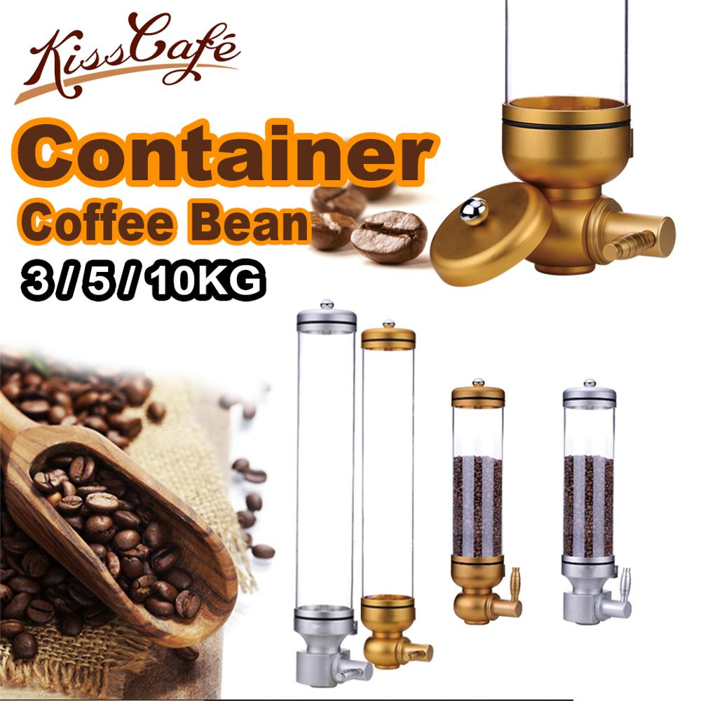 3/5/10KG Aluminium alloy & acrylic coffee bean dispenser container stand canister suspension sealed jar