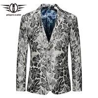 Plyesxale Mens Floral Blazer Slim Fit Silver Flower Pattern Men Blazers 2018 Mens Stage Wear 5XL 6XL Male Blazer Jacket Q402