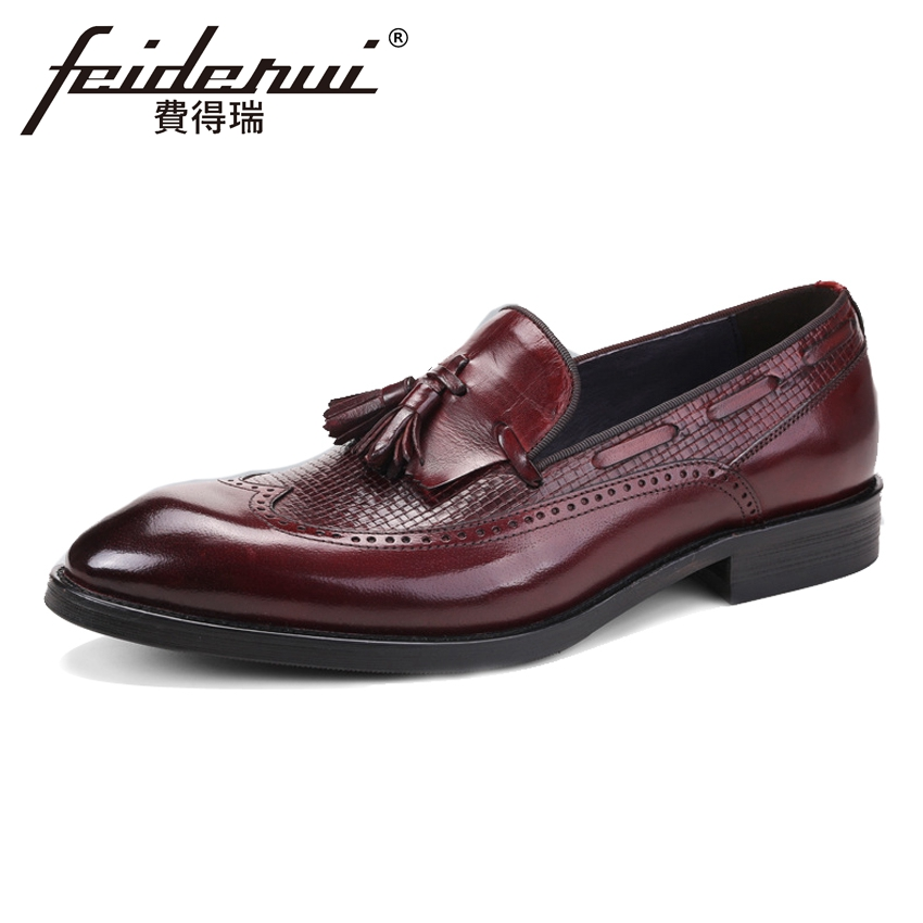 British Style Genuine Leather Mens Loafers Round Toe Slip on Male Wingtip Flats Vintage Formal Dress Brogue Shoes For Man ASD16British Style Genuine Leather Mens Loafers Round Toe Slip on Male Wingtip Flats Vintage Formal Dress Brogue Shoes For Man ASD16