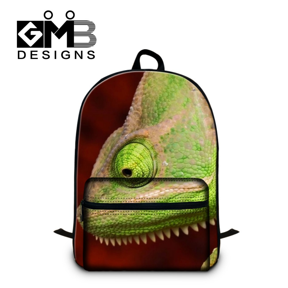 Chameleon design 3D Pattern School backpacks for boys,mens traveling back pack,cool bookbags with laptop compartment for teens