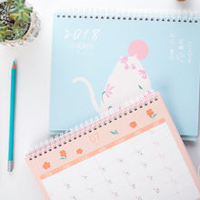 1 Pcs/set Lovely 2018 Japanese cartoon cat desktop calendar furnishing articles everyday of pet series