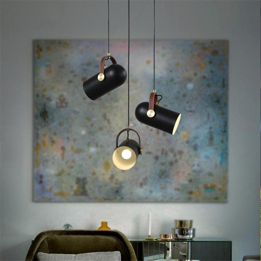 Lampe de pendentif LED moderne en fer forgé, sangles en cuir pendentif LED lumières pour bar de magasin
