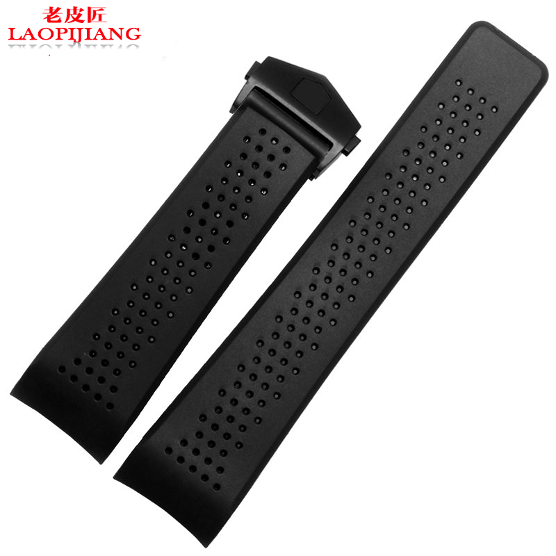 22mm NEW MEN High Quality Depolyment Silver Buckle Curved End Black Diving Silicone Rubber Watchband Bands Straps Watch