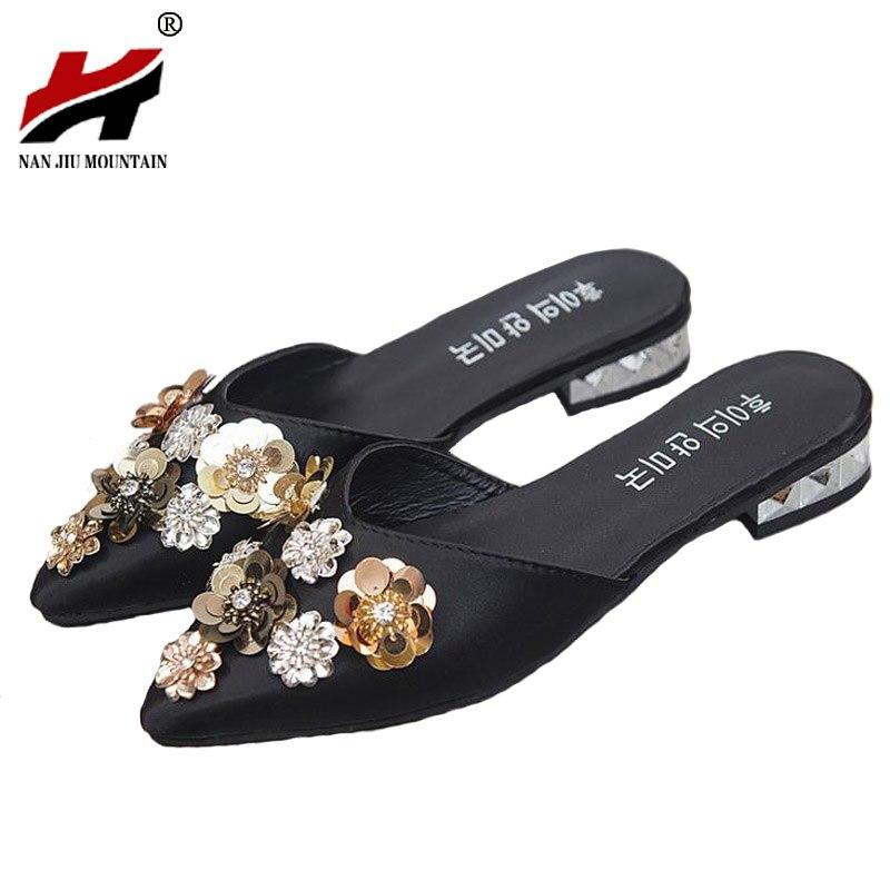 Обувь Для женщин брендовые летние Для Женщин Половина Шлёпанцы для женщин Цветочные блестками на низком каблуке повседневная обувь женски...