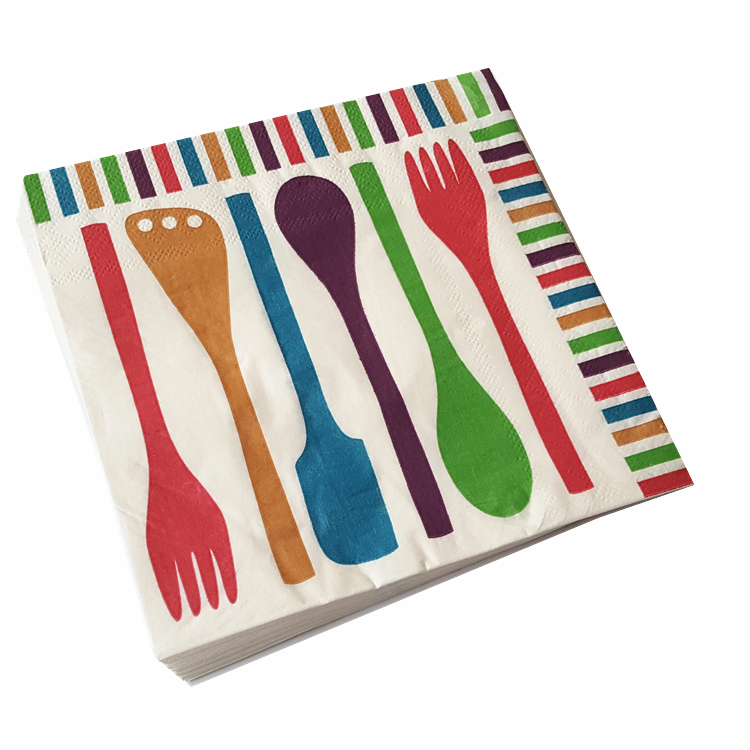 20pcs 33 33CM knive fork spoon theme paper napkins serviettes decoupage decorated for wedding party virgin wood tissues in Disposable Party Tableware from Home Garden