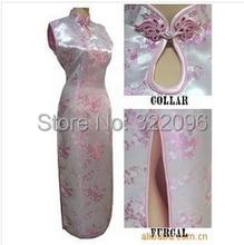 Shanghai Story  Sleeveless Dress The national trend chinese style faux silk dress long cheongsam chinese dress Qipao Pink J3030