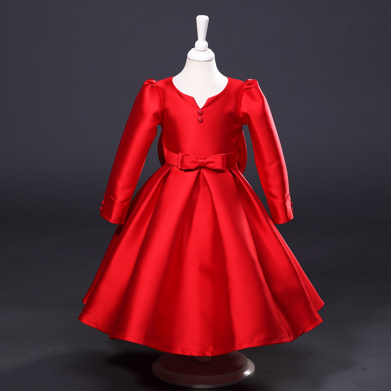 Princess Girls Long-sleeved Children's Evening Autumn New Europe and The United States Dress Kids Clothing Red Silk
