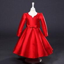 Принцесса Девушки С Длинными рукавами детские Вечерние Осень Новая Европа и Соединенные Штаты Платье Дети Одежда Красный Шелк