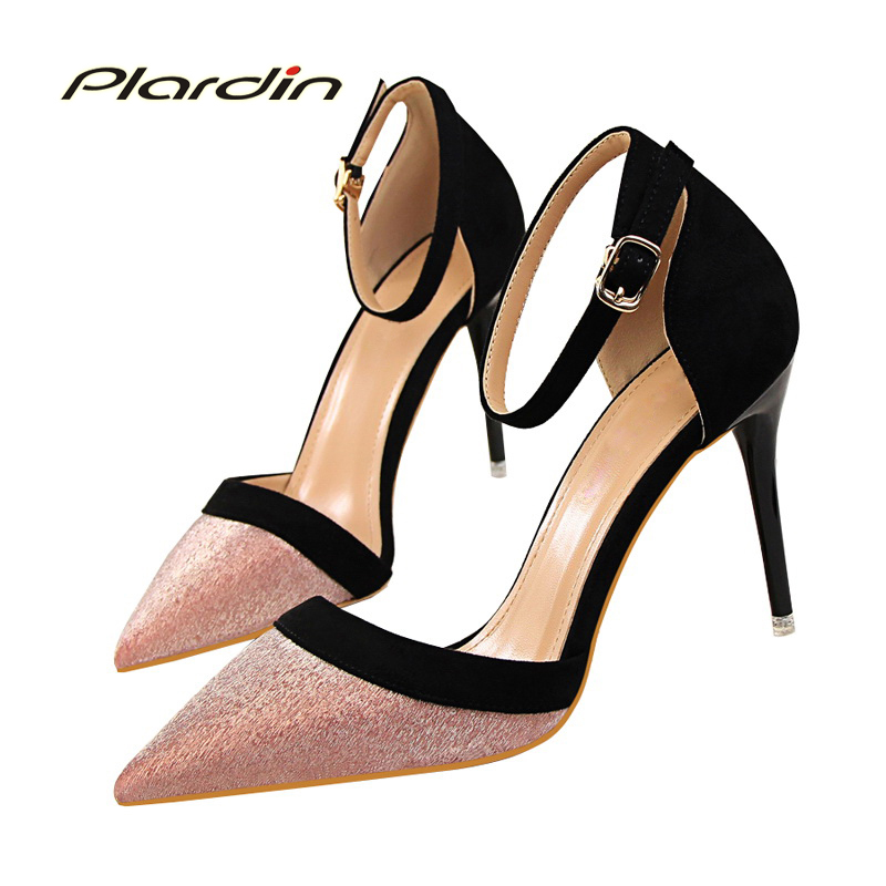 plardin new summer casual sweet  woman pumps sandals high-heels thin heel pointed toe  Ankle Strap Bling shoes for women xiaying smile summer new woman sandals platform women pumps buckle strap high square heel fashion casual flock lady women shoes