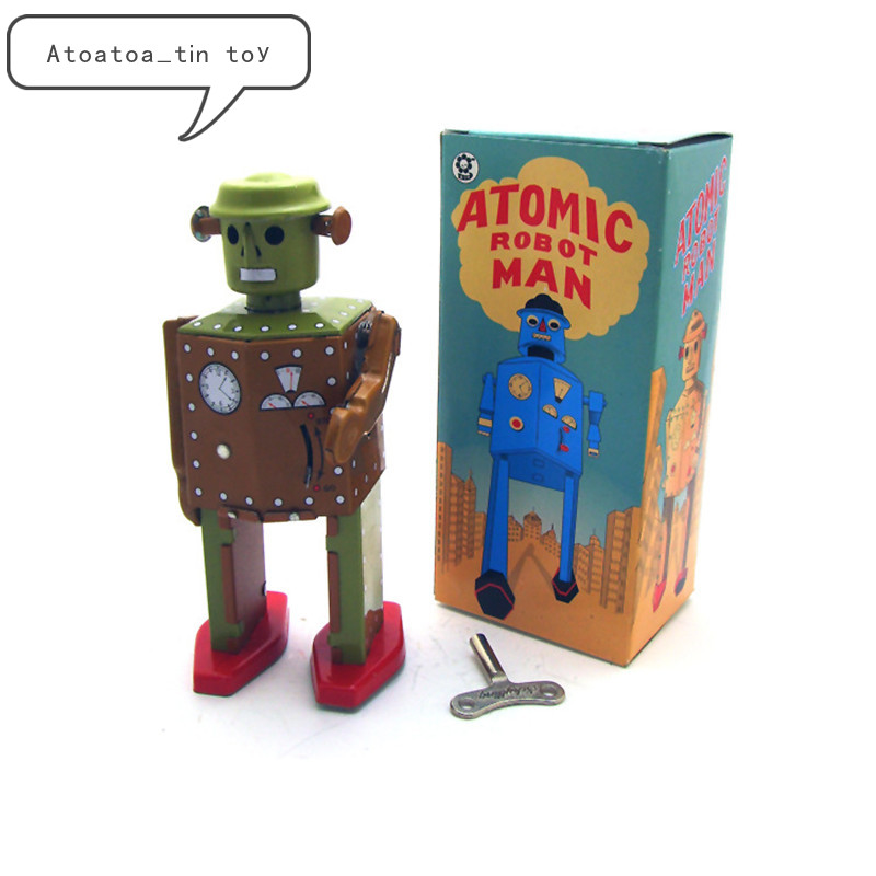 Vintage Retro Collection Tin Toys Classic Clockwork Wind Up Robot Photography Tin Toys With Key Gift For Adult Children