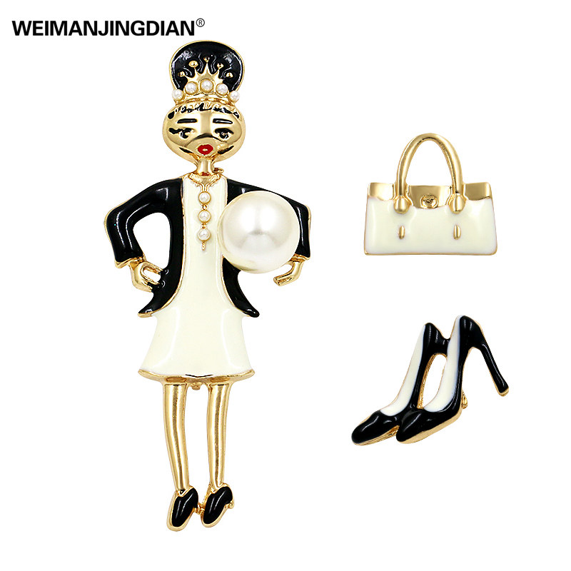 Новинка 2017 года Мода пакет комплект из 3 предметов Красота девушка Обувь и сумки набор эмаль брошь Шпильки для одеть Интимные аксессуары