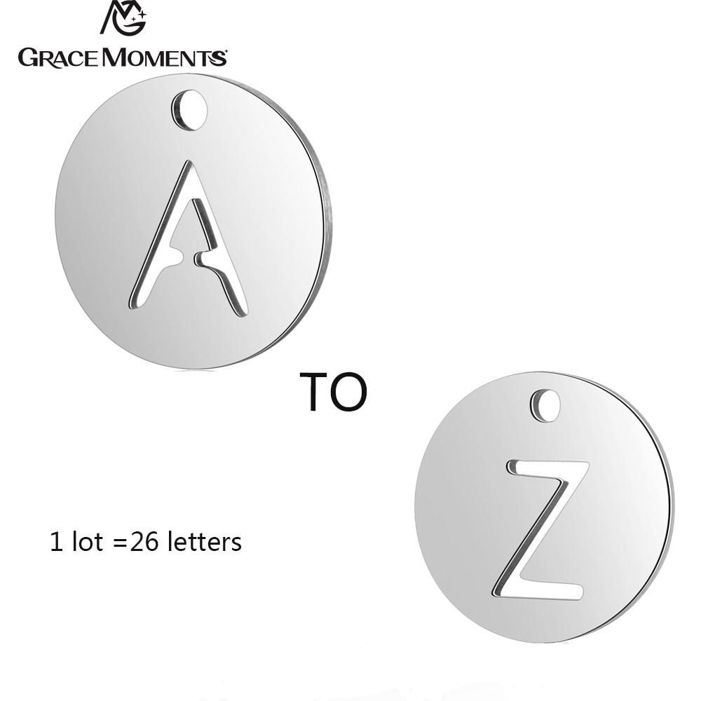 26 Teile/los Gnade Momente Edelstahl Runde Alphabet Charms Diy Initialen Von A-z Anhänger Charme Diy Zubehör Schmuck