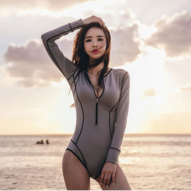 2018 Musim Panas Lengan Panjang Pakaian Renang Wanita Ritsleting Swim Wear Monokini Bodysuit Baju renang One Piece Swimsuit Maillot de Bain Femme