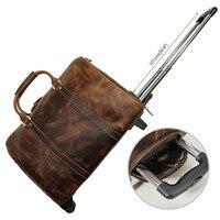 TIDING кожаный вещевой мешок дорожные сумки дизайнер выходные сумка вести чемодан тележка случае сумка со Свинкой