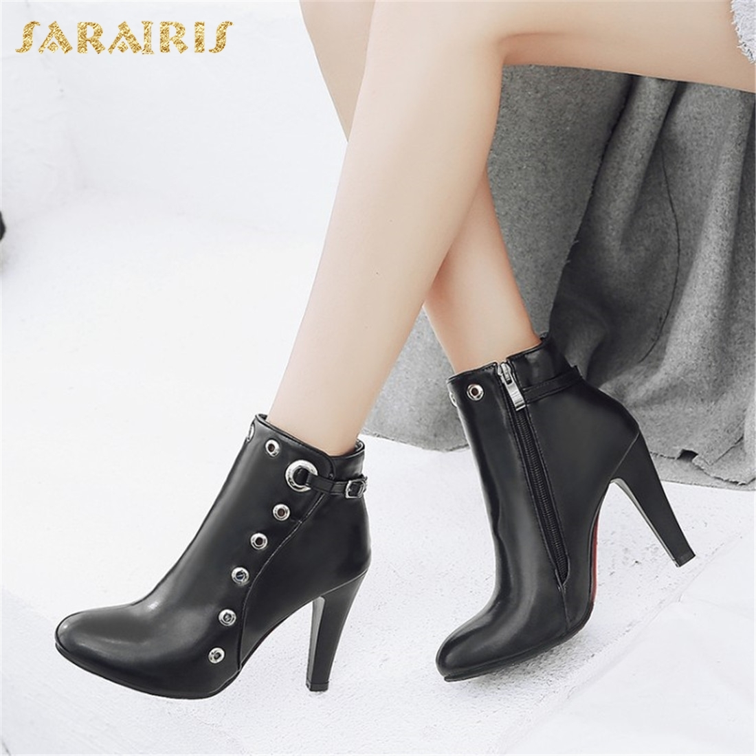 SARAIRIS New plus size 34-48 High Heels Zip Up Ankle Boots Woman Shoes Autumn Winter Boots Female Hot Sale Shoes Women sarairis plus size 34 50 add fur autumn winter boots woman shoes chunky heels lace up platform ankle boots female shoes woman