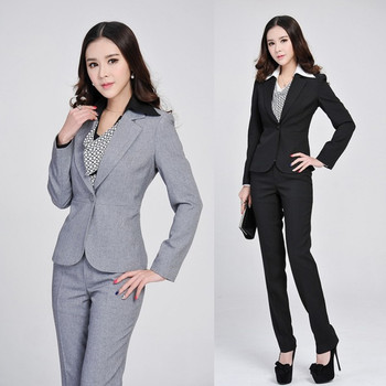 Formal Ladies Gray Blazer Women Business Suits Formal Office Suits Work 2019 Spring Winter Fashion Women Pant and Jacket Sets