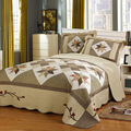 New Handmade Patchwork Quilt Set 3PCS 100% Cotton Bedspread American Floral Quilted Bed Cover Quilts King Size Coverlet Set