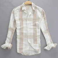 2015 Spring And Autumn Linen Shirt Male Casual Soft Plaid Long Sleeve Small Square Collar Slim