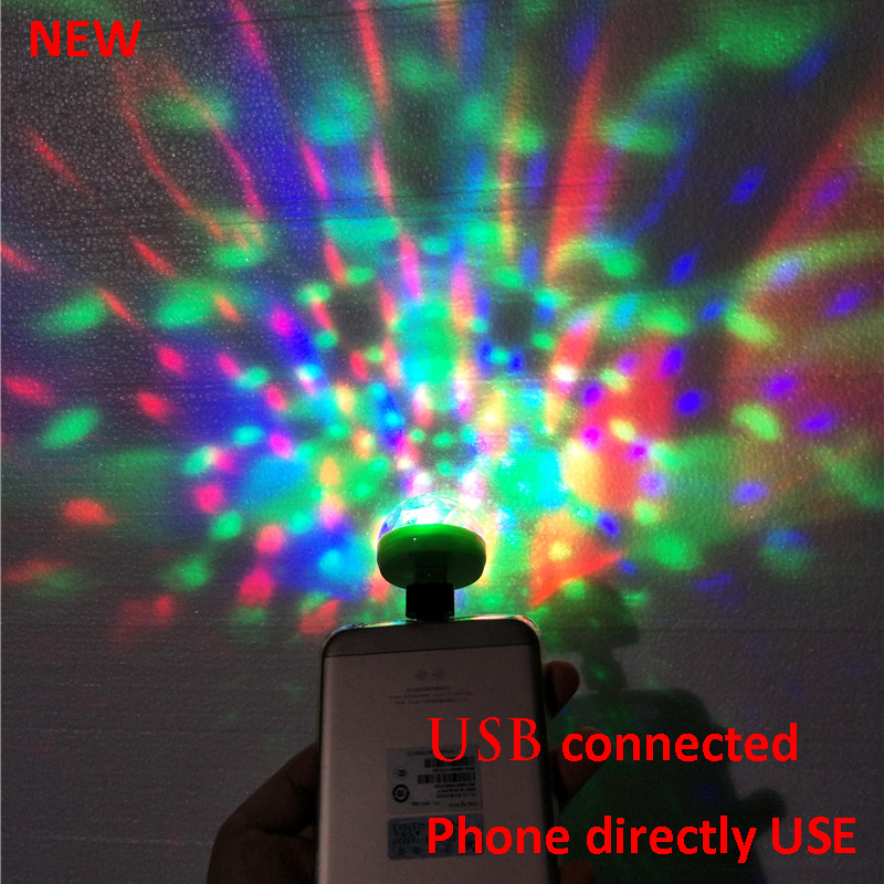 Lumiere RGB LED Music Stage Lights Sound USB Disco Club DJ Light Show Bulb Projector Crystal Magic Ball dj effect lighting ...