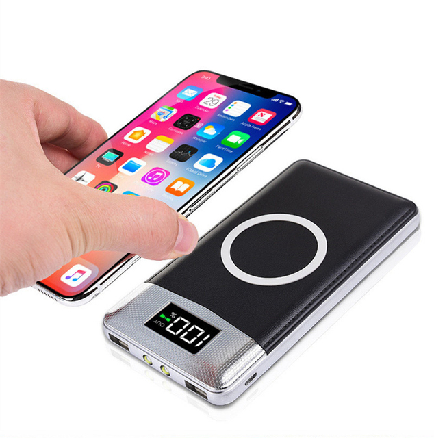 18650 QI Wireless 30000mah Power Bank External Battery Bank Built-in Wireless Charger Powerbank Portable for iPhone 8 X