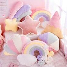 Cloud Plush Pillow soft gentle colour rainbow Stuffed Soft Star Throw Pillow Baby Kids Sofa Home Decor Girls Moon Cushion meteor