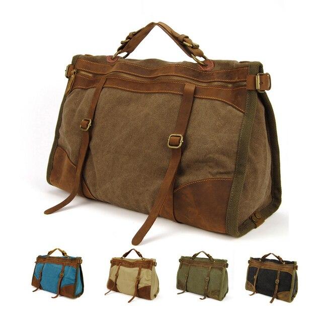 58adb992c19f6 خمر ريترو العسكرية قماش + جلد الرجال حقائب السفر الأمتعة أكياس الرجال حقيبة  عطلة الأسبوع بين