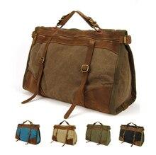 Vintage Retro militär Leinwand + Leder männer reisetaschen gepäck taschen männer wochenende Tasche Übernachtung duffle taschen tote Freizeit M314 #