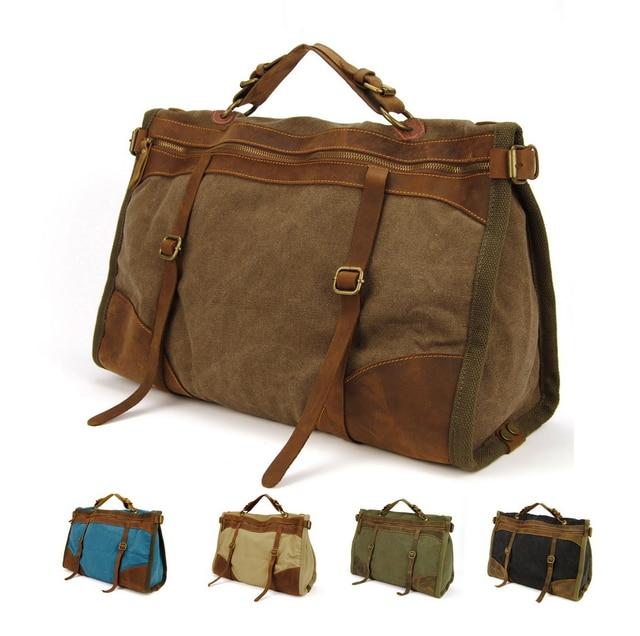 58bb4bbf14c3d Vintage Retro wojskowe Canvas + Skórzane mężczyźni torby podróżne torby  bagażowe mężczyźni weekend Torba Nocleg duffle