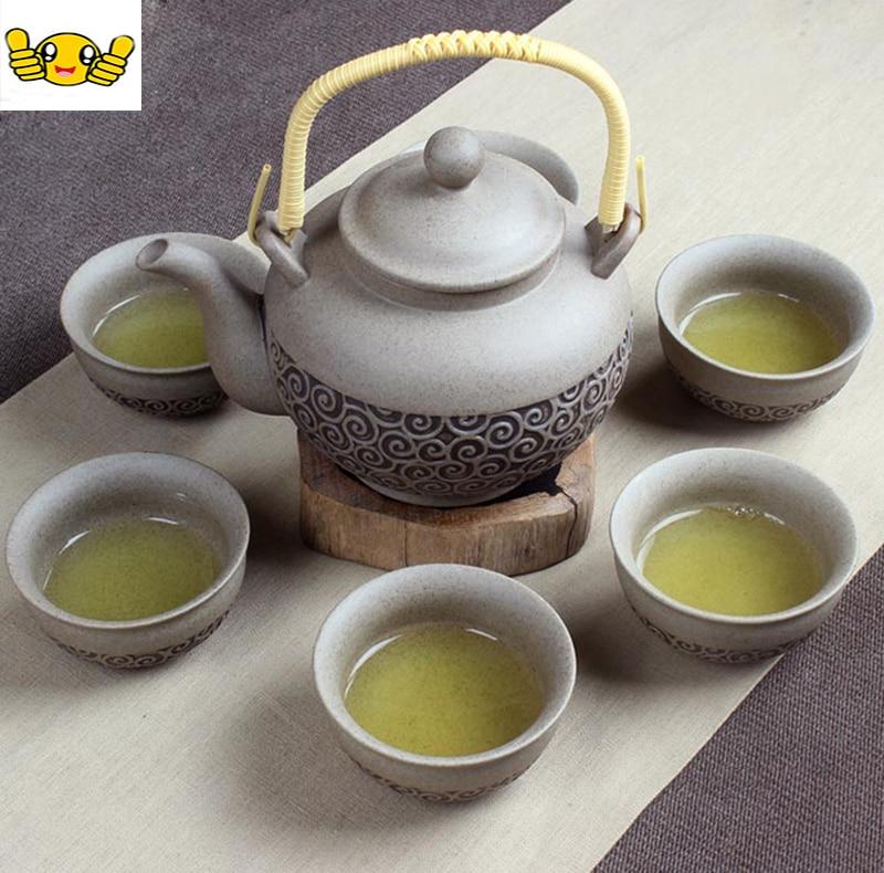 7pcs Rough pottery tea set 1 pot and 6 cups of Rough teapot teacup pure