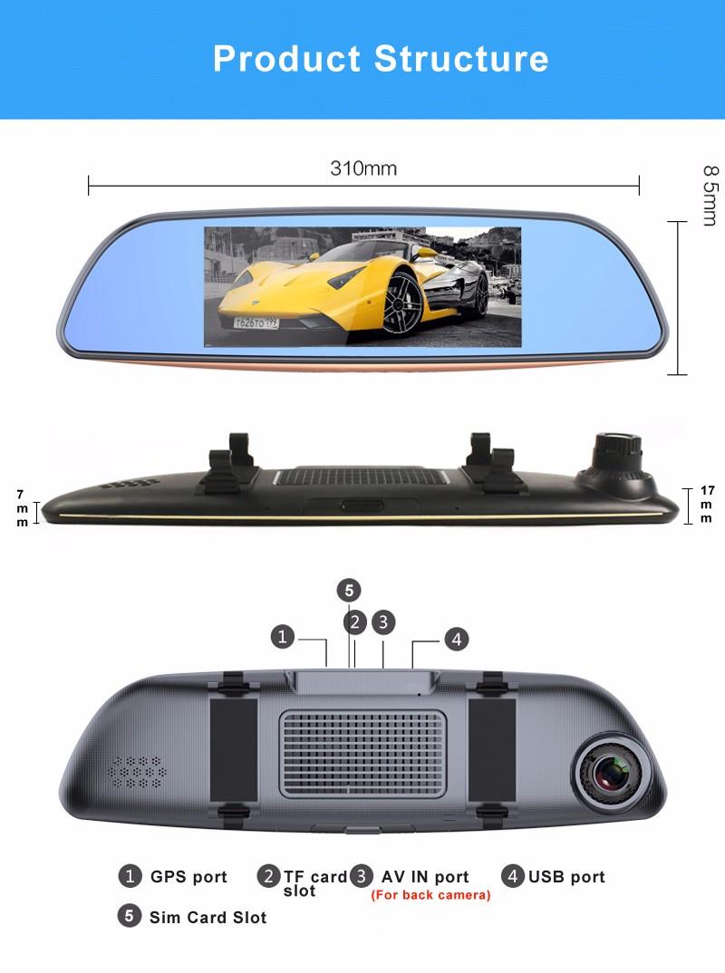 Free 32GB card+3G Car DVR+Android 5.0 Bluetooth GPS WIFI Dual lens rearview mirror camera+FHD1080P camara automovil Phisung H2 18
