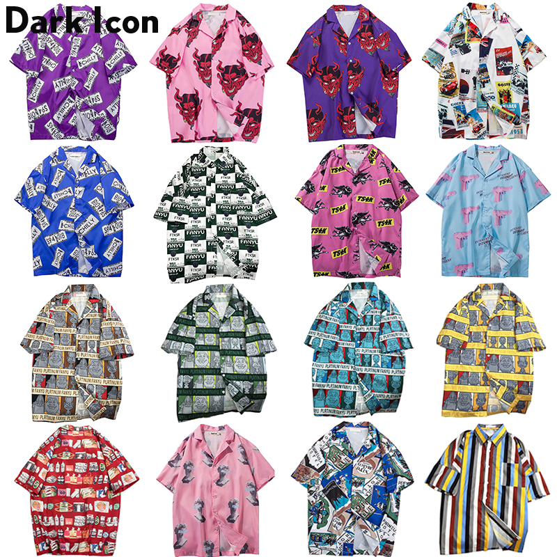 Dark Icon Full Printed Hip Hop Shirts Men Summer Hawaiian Beach Loose Men's Shirts Men Streetwear Shirts Short Sleeve