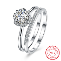 925 Sterling Silver Rings Sets Cubic Zirconia Engagement Rings Wedding Bands Accessorise Fashion Anniversary Jewelry RI102636