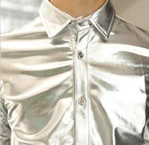 Image 4 - Gold Shirt for Men 2019 Black Silver Luxury Shirt Men Long Sleeve Faux Leather Gold Performance Luxury Mens Nightclub Shirt