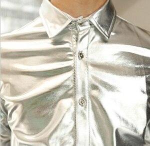 Image 4 - Złota koszula dla mężczyzn 2019 czarna srebrna luksusowa koszula męska z długim rękawem Faux Leather Gold Performance luksusowa męska koszula nocna