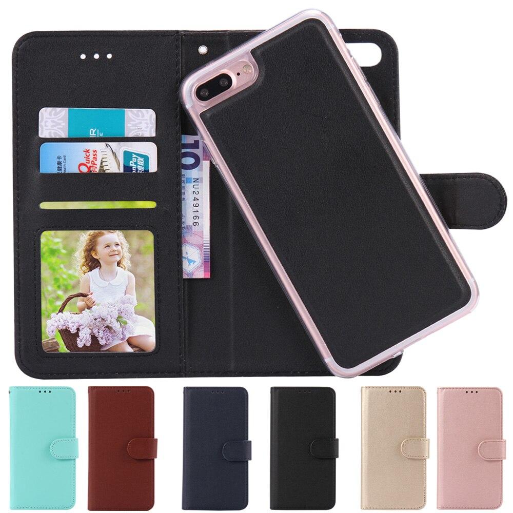 Для iPhone 7 кожаная сумка чехол Магнитный съемный Роскошный PU кожаный бумажник силикона чехол телефон Сумки для iphone 6S 7 плюс Капа