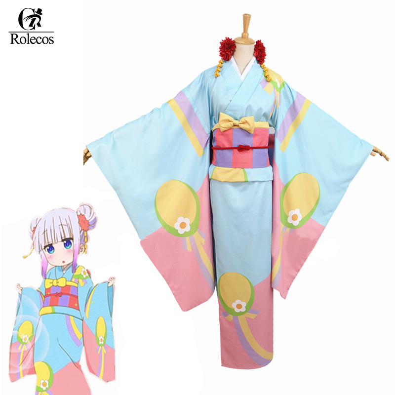 Rolecos Japanese New Anime Kobayashi-san Chi no Maid Dragon Cosplay Costume Kamui Kanna Cosplay Kimono Kanna Cosplay Costume