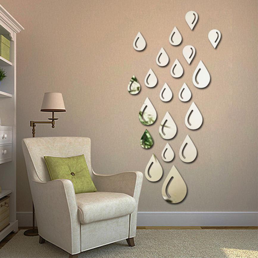 gota de lluvia gota de agua de la superficie del espejo etiqueta de la pared removible
