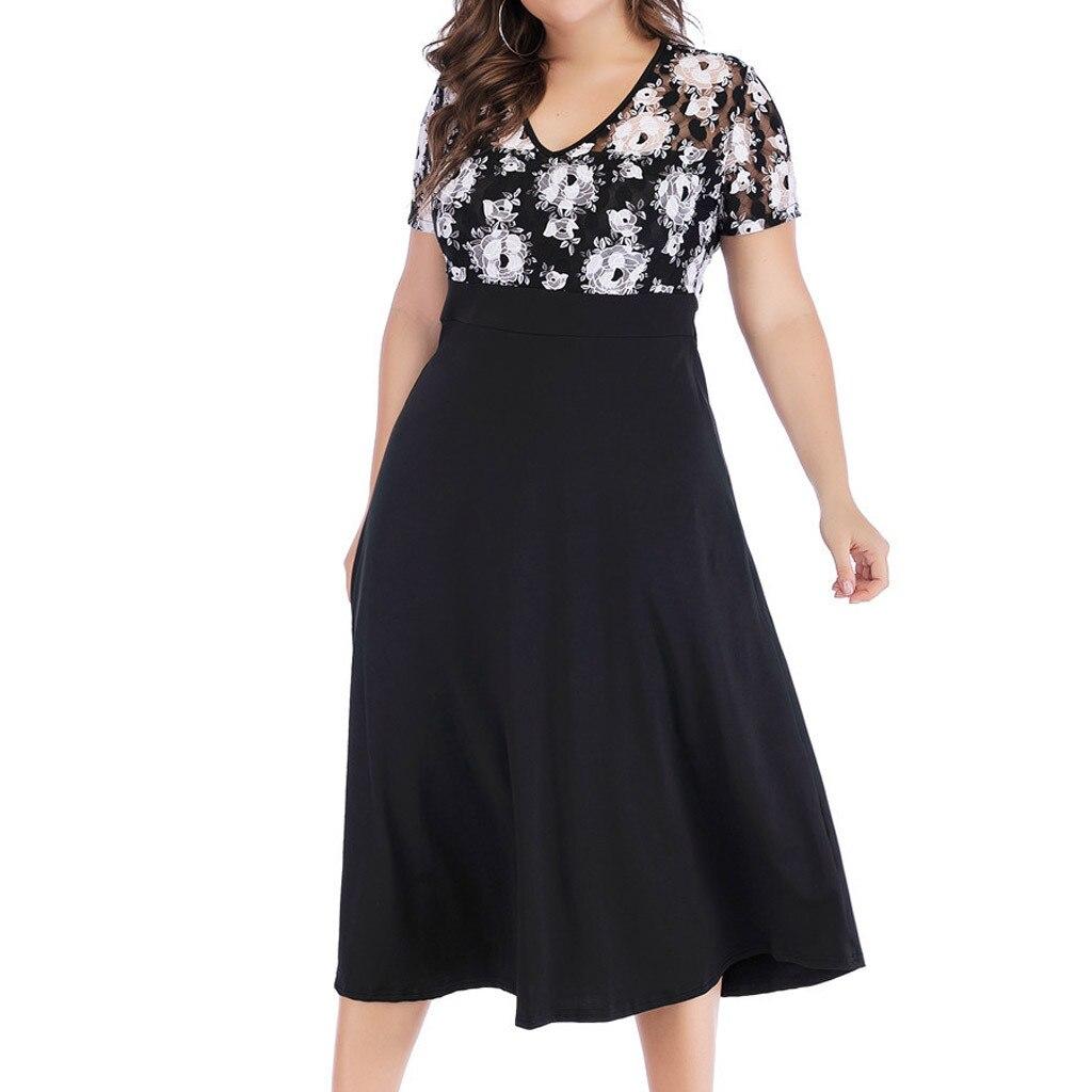 Boho Dresses Summer 2019 Fashion Womens Plus Size Dress V Neck Women Flower Printing Short Sleeve Long Women Clothes Elegant#g4 Extremely Efficient In Preserving Heat Women's Clothing