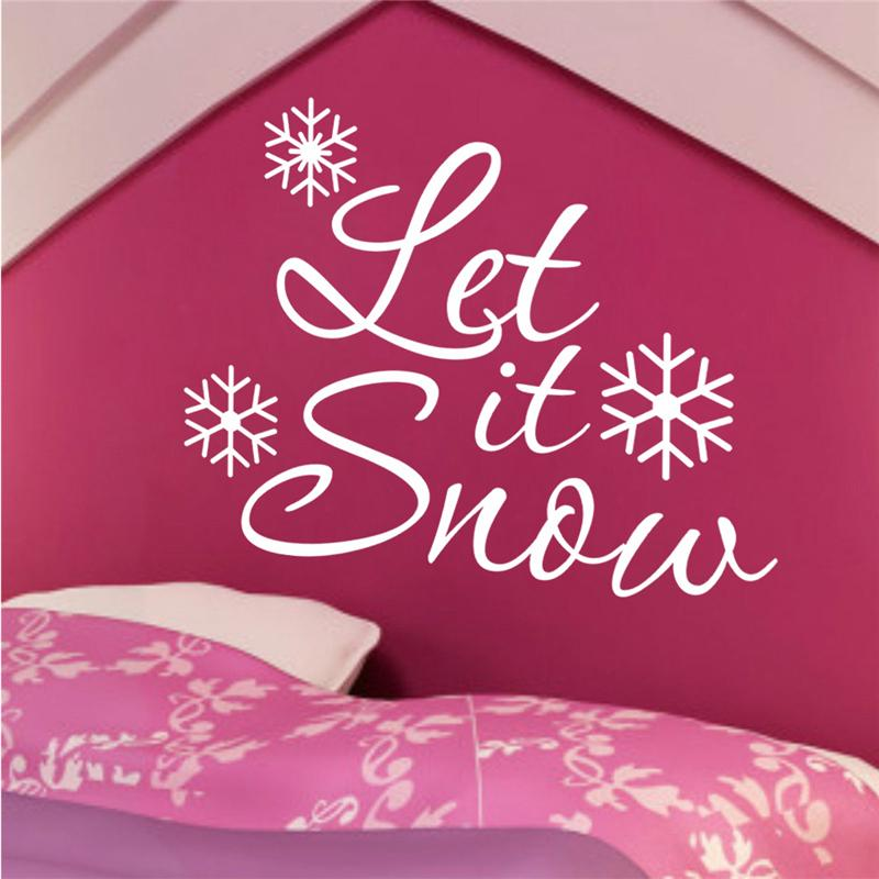 let it snow happy new year wall stickers room covers decor 037. diy vinyl gift home decals festival mual art poster 3.5