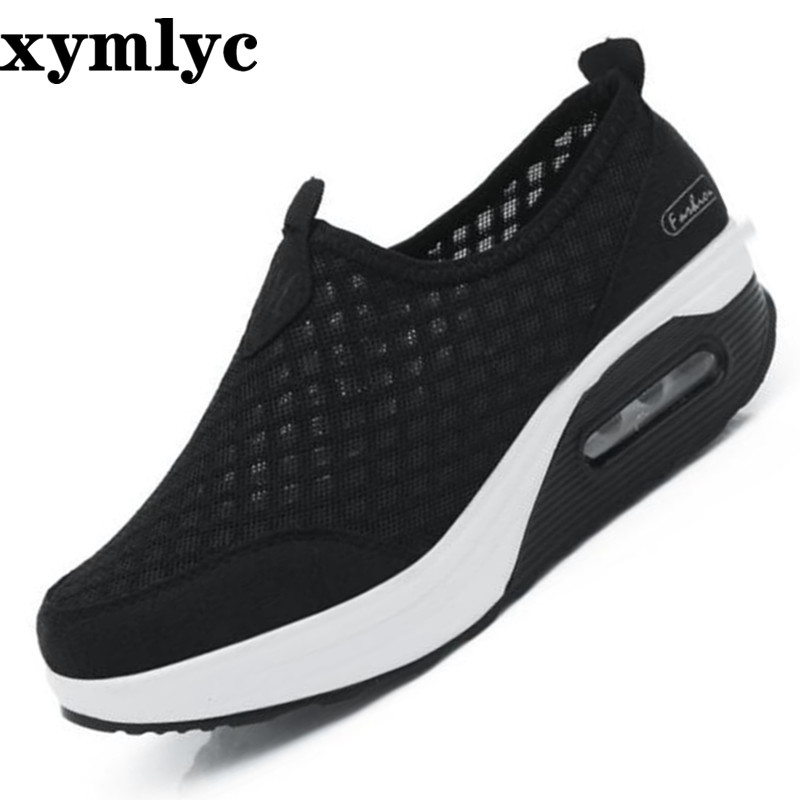 Women's shoes breathable mesh casual wedges shoes solid color round head set of feet flat bottom nonslip Outdoor walking shoes image