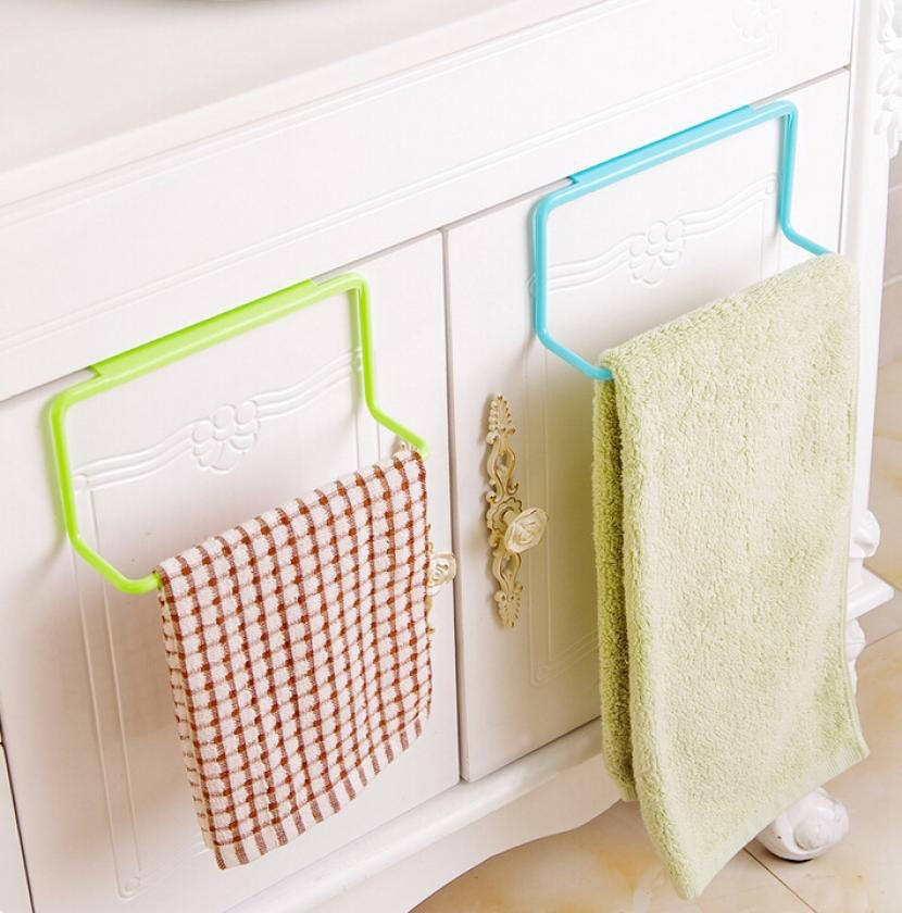 Us 1 47 33 Off Door Tea Towel Rack Bar Hanging Holder Rail Organizer Bathroom Cabinet Cupboard Hanger Kitchen Accessories In Hooks Rails From Home