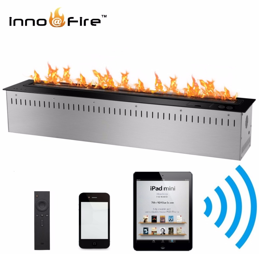 Inno-living 72 Inch Stainless Steel/black Color Smart Control Fireplace Bioethanol