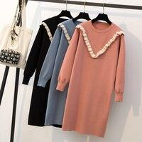 Полноразмерная Женская утягивающая одежда для полных mm осенне зимнее вязаное платье в длинном, жира и возраст для снижения древесный гриб»;