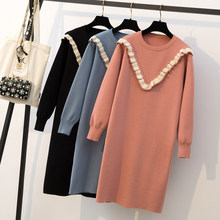 Full-size women's dress fat mm autumn-winter knitted dress in a long, fat and age-reducing wooden ear sweater(China)