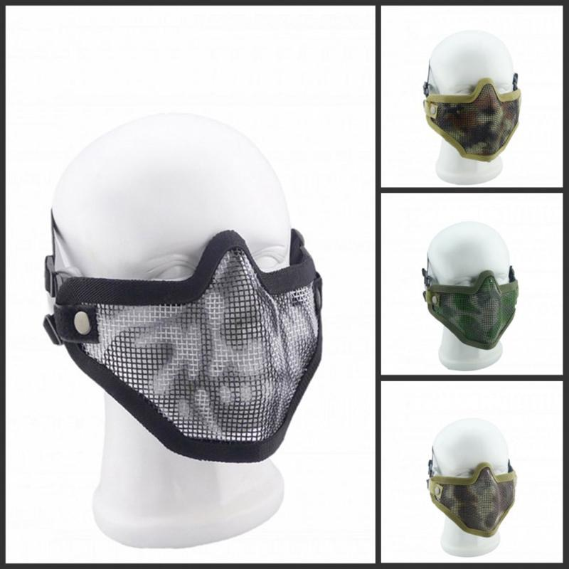 Outdoor Tactical Hunting Metal Steel Wire Safety Protection Half Face CAT Mask Mesh Airsoft Protective Paintball Resistant