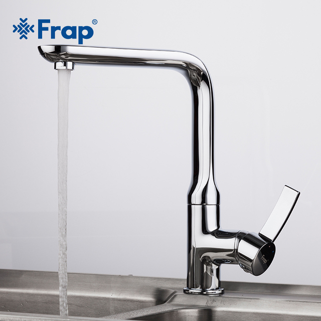 FRAP 2018 New 1Set Brass Chrome Finish Tall Kitchen Sink Faucet Single  Handle Torneira Cold And