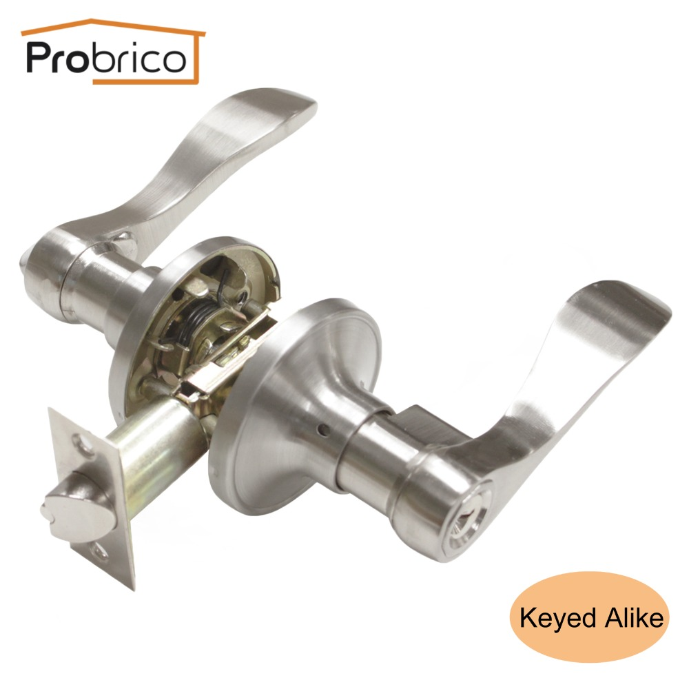 Probrico Keyed Alike Door Lock Stainless Steel Security Safe Brushed Nickel Door Handle Knob Entrance Locker DL12061SNET top quality 304 stainless steel interior door lock big 50 small 50 series bedroom door anti insert handle lock
