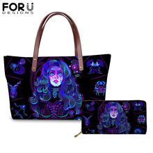 FORUDESIGNS Fashion Constellations Printing Handbags Set/2PCS for Women Girl Blue Black Shoulder Bag Ladies Femme Shopping