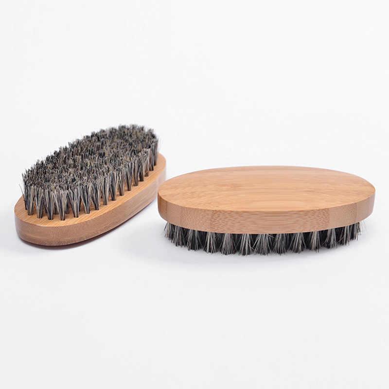 1 Pcs Profesional Keras Kayu Bulat Pegangan Sisir Jenggot Sikat Boar Rambut Bulu Perjalanan Kumis Sikat Styling Alat untuk pria