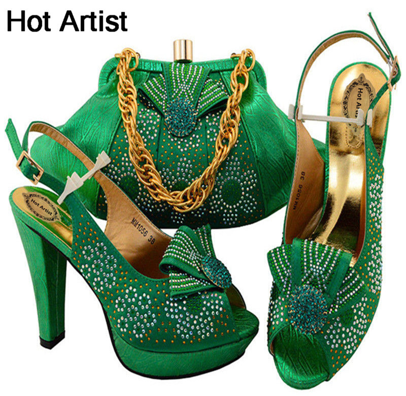 Hot Artist Green Color Fashion Party Shoes And Bags To Match Set African Shoes And Bag Set Italian Shoes And Bag Set MM1056 hot artist shoes and bag set african sets italian shoes with matching bags high quality women shoes and bag to match set mm1055